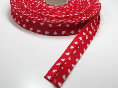 Schraegband 1 Meter Rot mit weissen Herzen - 2 cm breites Schraegband