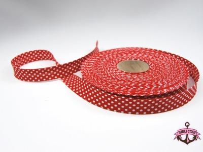 Schraegband 1 Meter in Rot mit weissen Punkten - 2 cm breites Schraegband