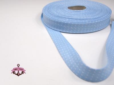 Schraegband - 1 m in Hellblau mit weissen Minipunkte - 2 cm breites Schraegband