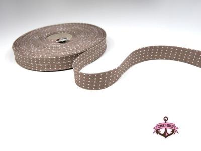 Schraegband -1 m in Milchkaffee mit weissen Minipunkte - 2 cm breites Schraegband