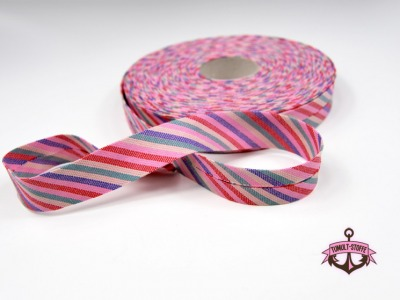 Schraegband -1 Meter Rosa-Bunt gestreift - 2 cm breites Schraegband