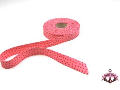Schraegband - 1 Meter in Rosa mit roten Punkten - 2 cm breites Schraegband