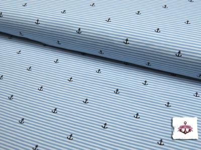 Jersey - Hellblau-Weiß mit Ankern - 0,5 m