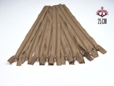 10 x 25 cm milchkaffefarbene Reißverschlüsse - 10 Reißverschlüße zum Setsonderpreis