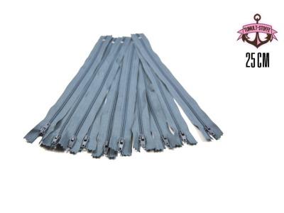 10 x 25 cm graue Reißverschlüsse - 10 Reißverschlüße zum Setsonderpreis