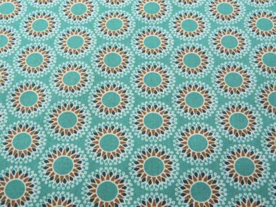 Beschichtete Baumwolle Mandala auf Matt Türkis
