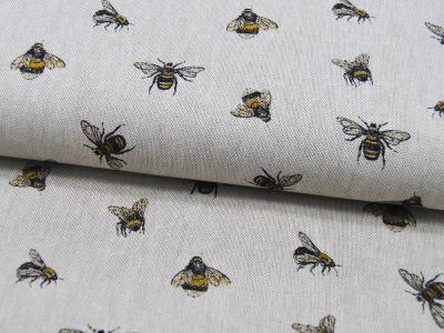 Dekostoff Bienen auf Beige Emma 05m