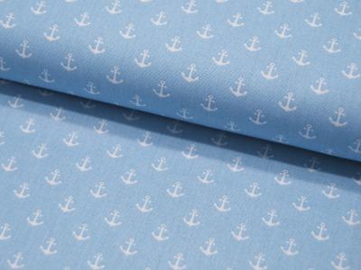 Baumwolle Mini-Anker in Weiß auf Hellblau