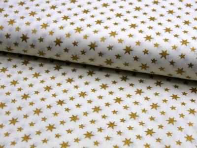 Helle Baumwolle mit goldenen Sternen 0,5m