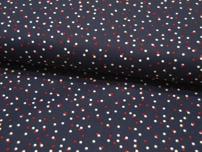 Baumwolle Dots Weiß-Rote Punkte auf Dunkelblau