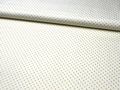 Weisse Baumwolle mit Punkten in Gold - 50 cm