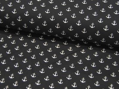 Baumwolle Mini-Anker in Weiß auf Schwarz
