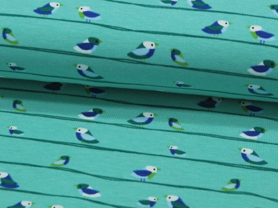 Jersey - Vögel auf Mint -