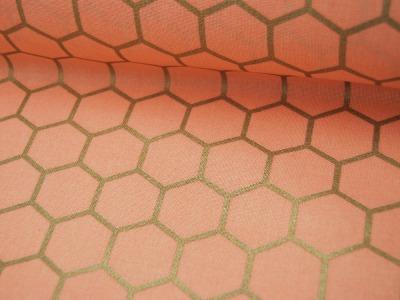 Dekostoff Goldene Waben auf Rosa 05m
