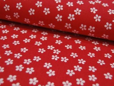 Baumwolle Flowers/ Kleine Blumen auf Rot