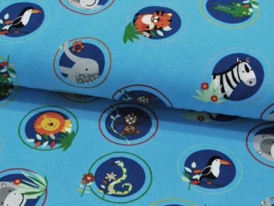 Jersey - Tiere auf Hellblau -