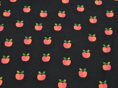 Beschichtete Baumwolle Äpfel auf Schwarz 50x74