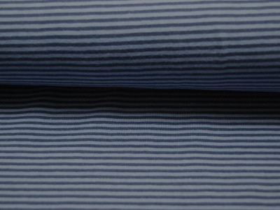Jersey - Streifen Jeansblau-Hellblau - 0.5 Meter