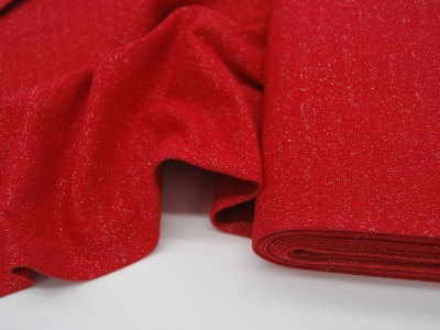 Leichtes Bündchen Rot mit Glitzer 50cm