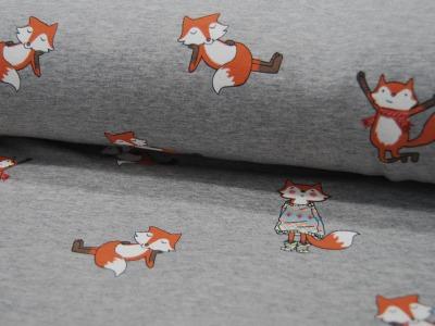 French Terry Fox Füchse auf Graumeliert