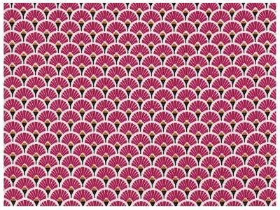 Beschichtete Baumwolle - Fächermuster Bordeaux 50 x75 cm