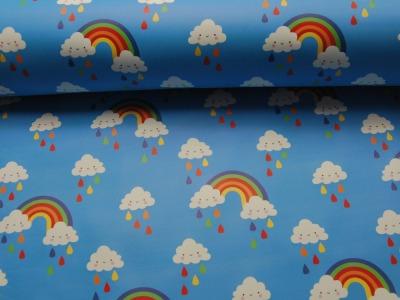 REGENJACKEN STOFF - Regenbogen und Wolken - 50 x 140 cm