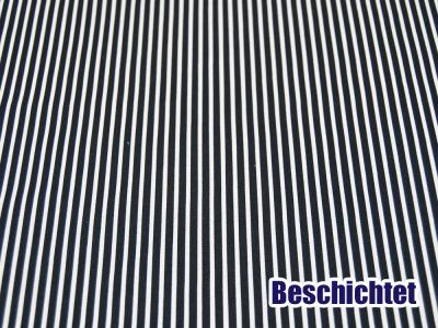 Beschichtete Baumwolle Stripe Streifen in Dunkelblau-Weiß