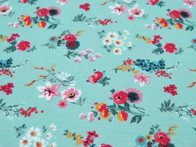 Beschichtete Baumwolle Blumen auf Mint 50x74