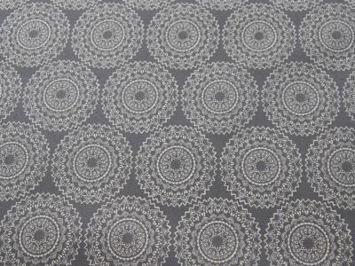 Beschichtete Baumwolle Ornamente Grau/Weiß 50x65 cm