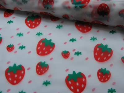 REGENJACKEN STOFF - Erdbeeren auf Transparent - 50 x 120 cm