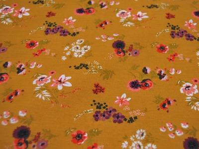 Beschichtete Baumwolle Blumen auf Ocker 50x74