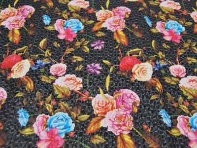 Kunstleder in Flechtoptik Blumen auf Schwarz-