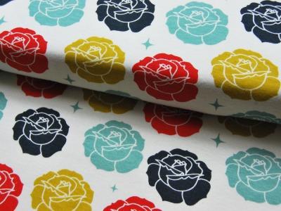 Jersey - BIO - Birch - Stamped Rose Cream - 0.5m - Oranic Cotton - zertifizierte BIO Baumwolle