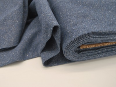 Leichtes Bündchen Jeansblau meliert mit Glitzer