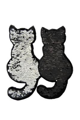 10 VE Katzenpaar silber/schwarz