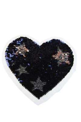 VE 10 Herz mit Sterne silber / dunkelblau