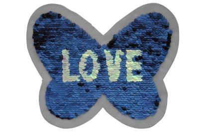 100 VE Schmetterling blau / silber und pink / rot