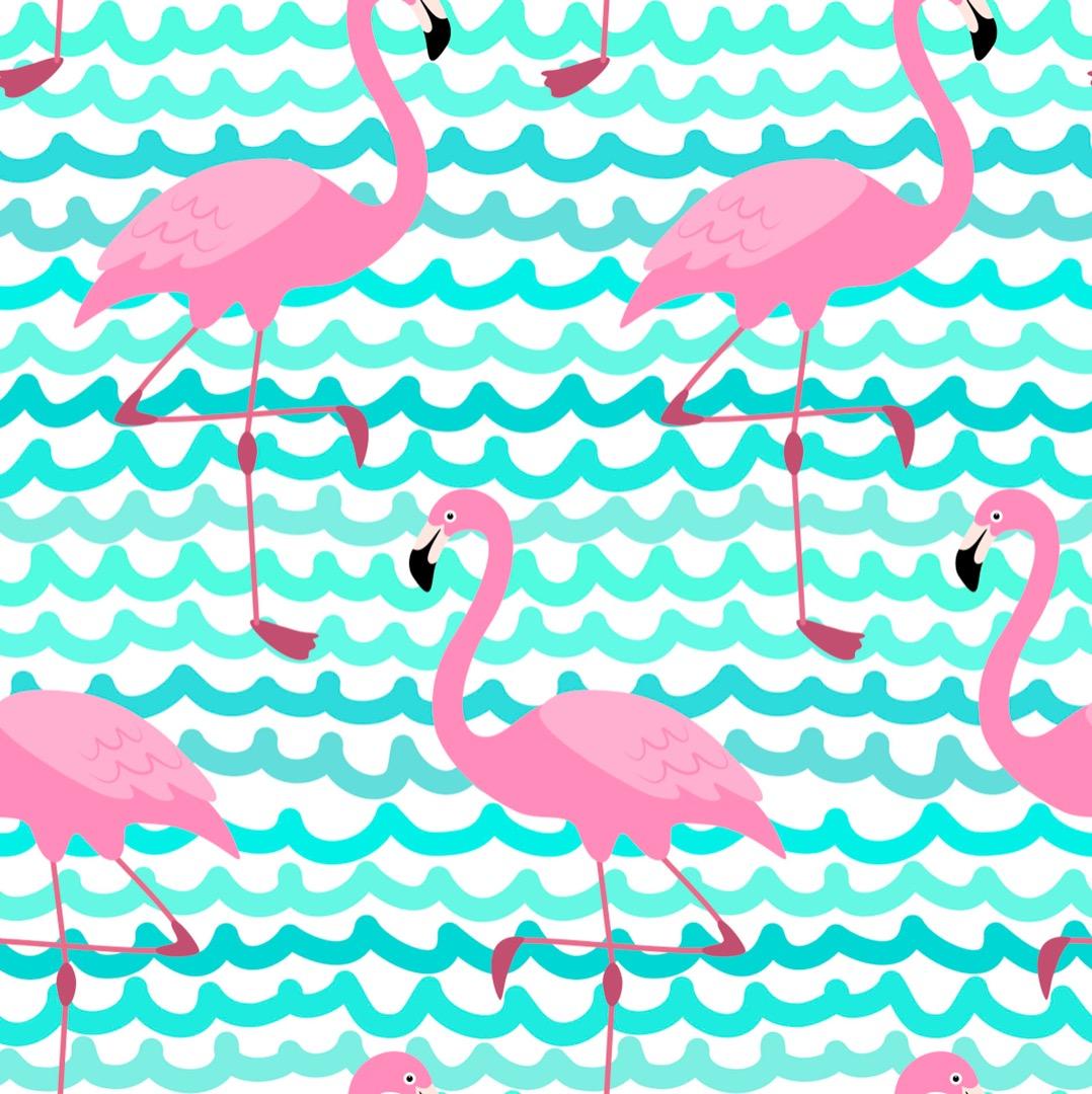 05m BW Flamingo Wellen pink türkis