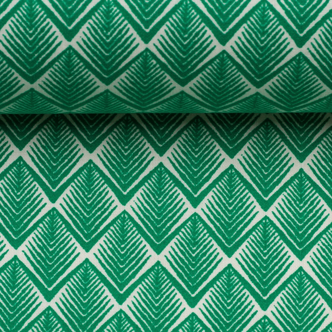 05m Beschichtete Baumwolle Leona zacken smaragd