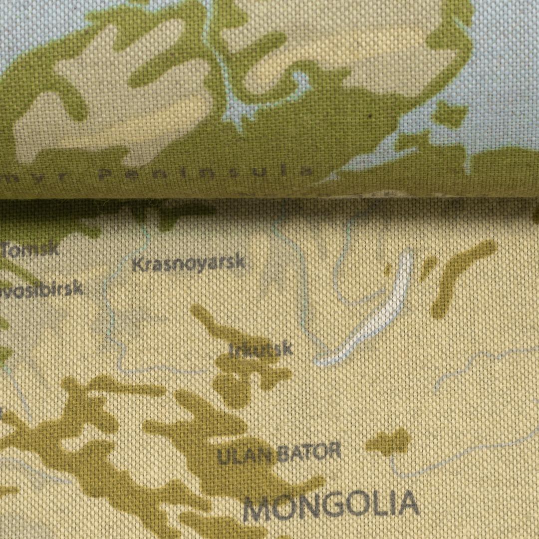 05m Canvas Leinen Look Weltkarte naturfarben
