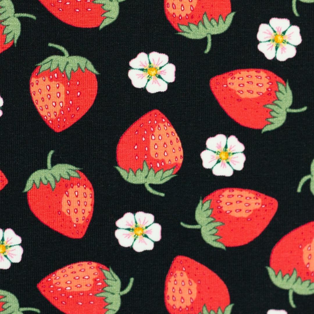 05m Jersey Vintage Botanical Erdbeeren schwarz