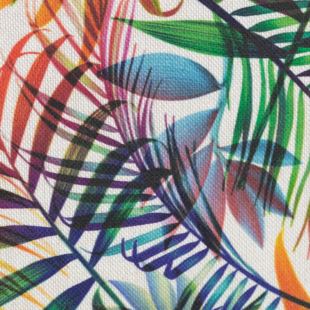 05m Canvas Ulrich Leinenoptik Palmenblätter bunt