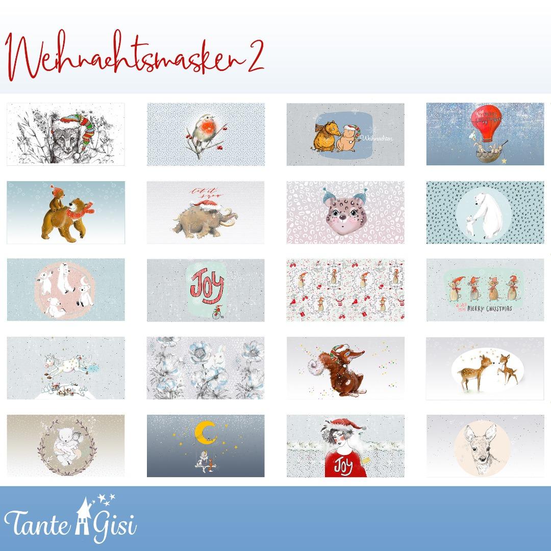 Panel Baumwolle Weihnachtsmasken Teil weiß bunt