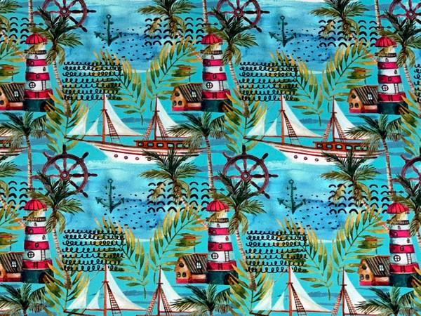 05m Jersey Leuchtturm Segelboot Steuerrad Palme