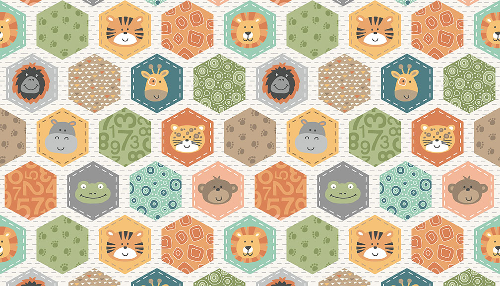 05m BW Jungle Friends Hexagons weiß