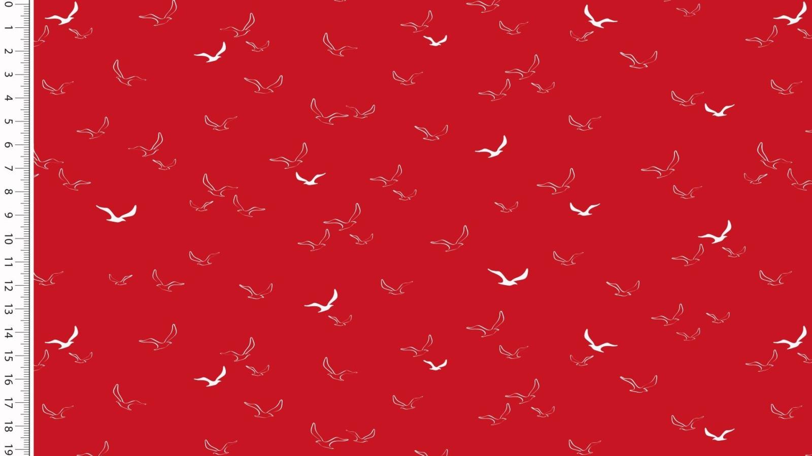 05m Baumwolle Möwen Maritim rot weiß