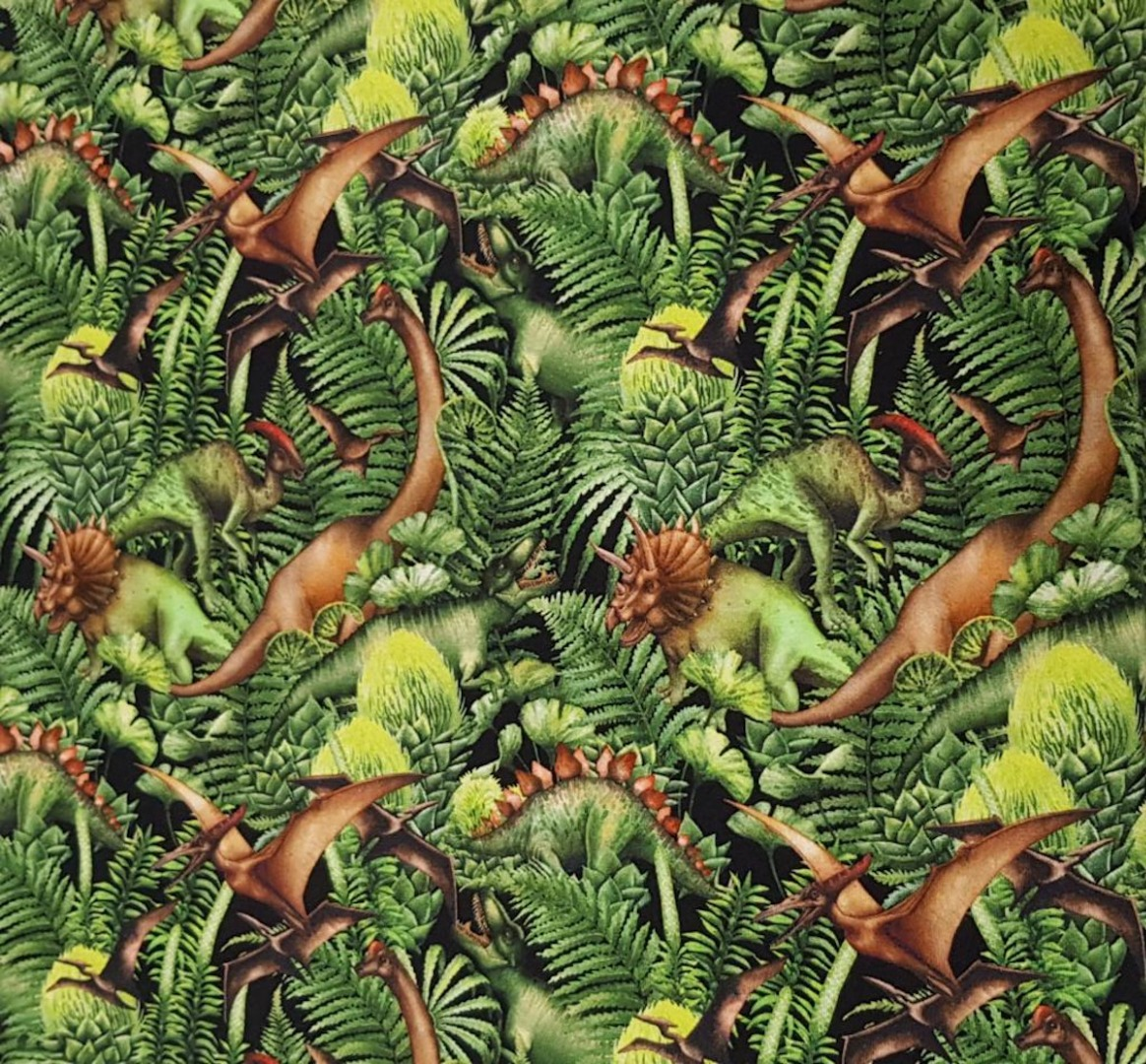 05m Jersey Dinos Digitaldruck Dinosaurier grün