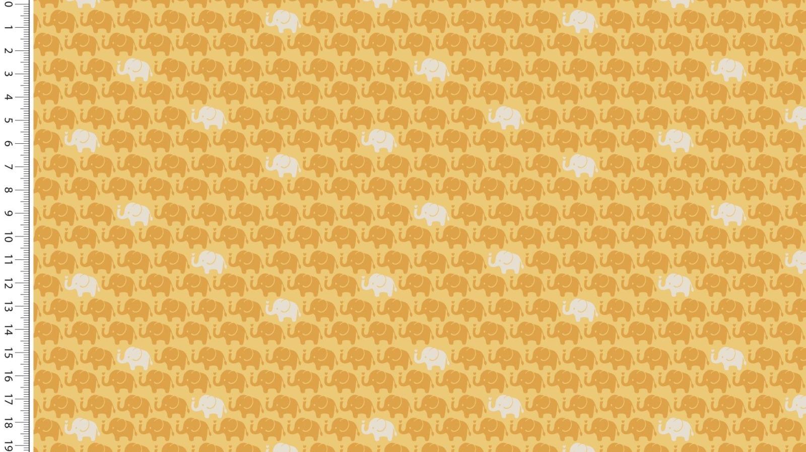 05m Baumwolle Mini Elefanten ocker