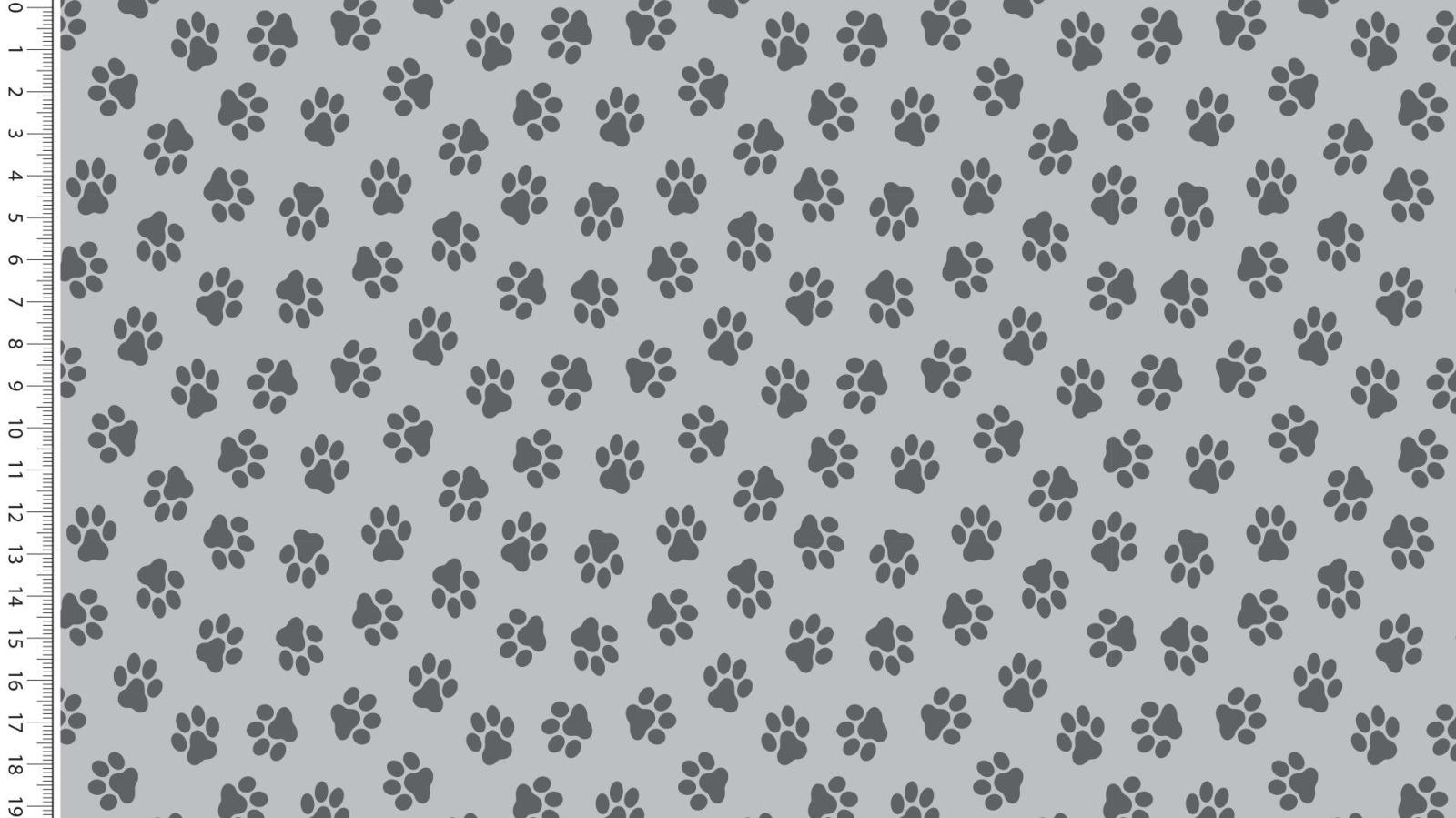 05m Baumwolle Pfoten Pfötchen grau