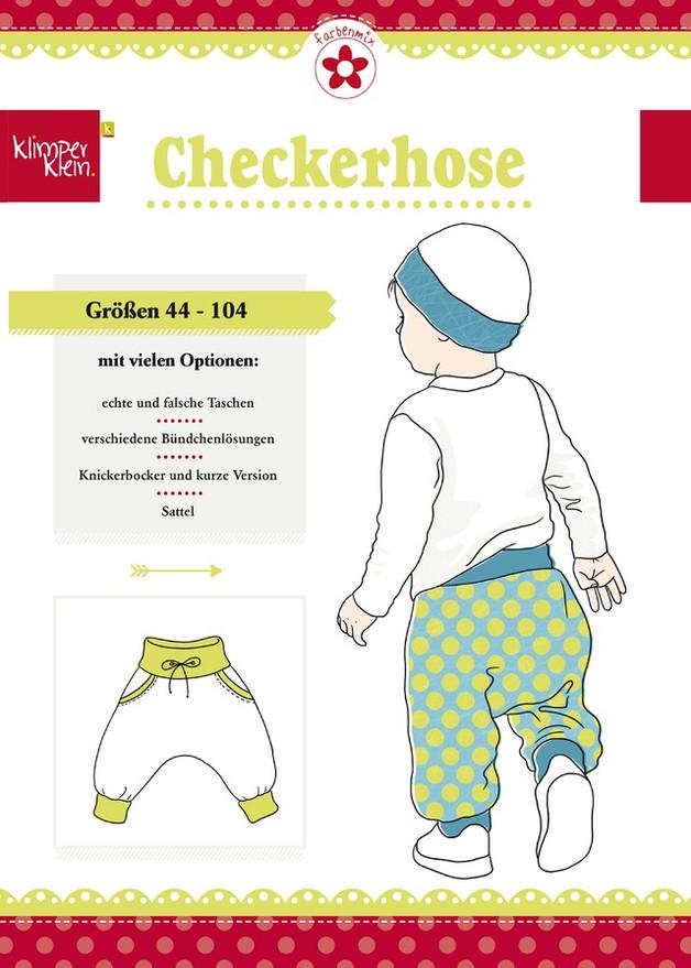 Schnitt Klimperklein Checkerhose Jersey Gr.44-104